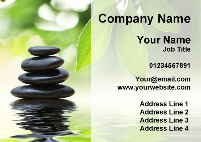 Salon soins de beauté massage soins Salon de spa pierres noir cartes de visite personnalisées c243a1