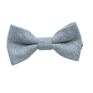 Enfants-Enfants-Garcons-Gris-Clair-en-Epi-a-Elastique-Laine-Noeud-Cravate-UK