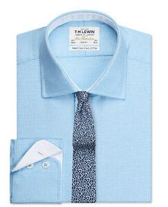 T-M-Lewin-Calce-Ajustado-Camisa-Brazalete-de-Sarga-Boton-Flecha-Azul