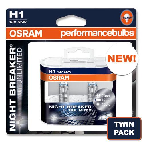 H1 OSRAM NIGHT BREAKER UNLIMITED VW CADDY III VAN UP TO 2010 04 HIGH BEAM BULBS
