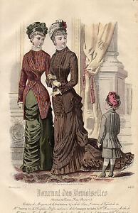 """32/ Gravure De Mode """" Journal Des Demoiselles """" 1879 Superbes Couleurs ! Les Produits Sont Disponibles Sans Restriction"""