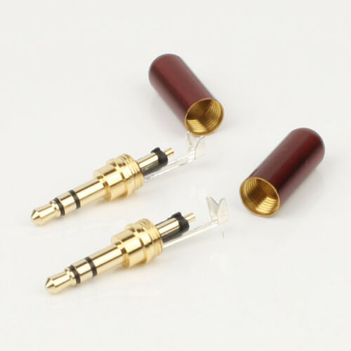 2pcs high quality Copper Gold Plated 3.5mm Male Stereo Mini Jack Plug soldering