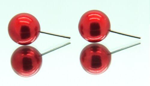 Womens Pearl stud earrings Round Posts Bridal Small Medium Large UK 3 5 7 8 9 mm