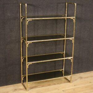 Libreria in metallo dorato finto bambù étagere vintage 4 ripiani vetro mobile