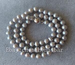 charm-kultivierte-5-6mm-grau-Suesswasser-Perlenkette-18-Zoll-Magnetverschluss