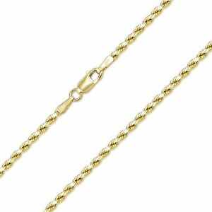604fc09179f26 14K Yellow Gold Hollow Diamond Cut Rope Necklace Chain 2.5mm 16-30 ...