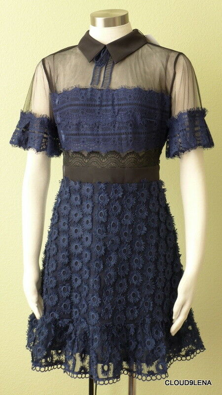 NWT FEW MODA NY Size M Illusion Yoke Embroidered Lace Dark Navy Mini Dress