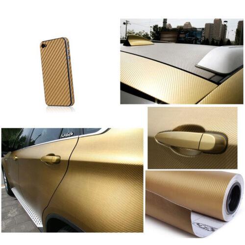 Black 3D Carbon Fiber Vinyl Car Wrap Sheet Roll Film Sticker Decal 10x127c Uwwj