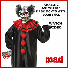 LAST LAUGH Evil Clown Costume+Animotion Moving Mask-Halloween Fancy Dress SCARY!