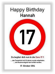 Verkehrszeichen-Bild-17-Geburtstag-Deko-Geschenk-persoenliches-Verkehrsschild-NEU