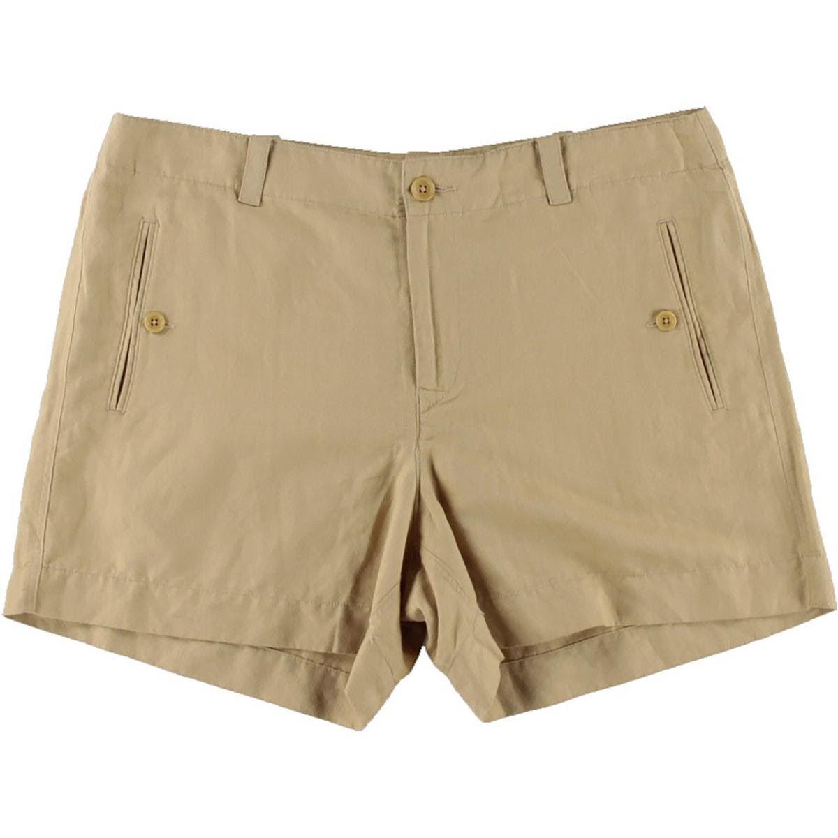 Lauren Ralph Lauren Shorts Safari Tan Linen Blend Woven AU14 W32 US10 NEW Women