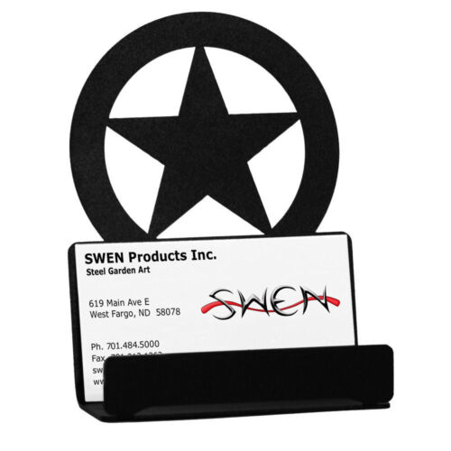 SWEN Products LONE STAR Black Metal Business Card Holder
