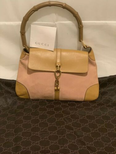 GUCCI LIGHT PINK/TAN SUEDE LEATHER JACKIE BAMBOO S