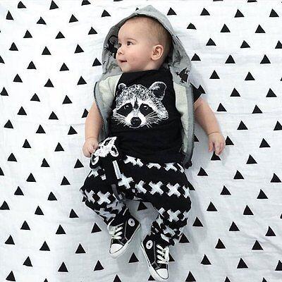 2pcs Newborn Infant Baby Boys Girls Clothes T-shirt Tops+Long Pants Outfits Set