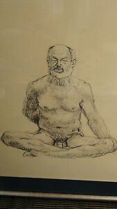 VINTAGE-ORIGINAL-CHARCOAL-DRAWING-DEPICTING-OF-NUDE-SEATED-MAN-SIGNED-SHERWOOD