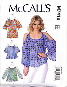 MCCALL-039-S-SEWING-PATTERN-7412-MISSES-SZ-16-26-COLD-SHOULDER-TOPS-TUNIC-PLUS-SIZES