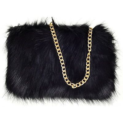 Ladies Designer Soft Fluffy Feather Faux Fur Clutch Bag Purse Gold Chain Runway