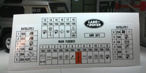 Land Rover Discovery 300tdi Etiqueta Label amr3871 Caja De Fusibles Interior de la información