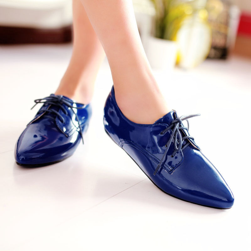 Women Lace Up  Flat Casual Oxfords Patent Leather Pointed Toe Shoes UK 2.5-8.5