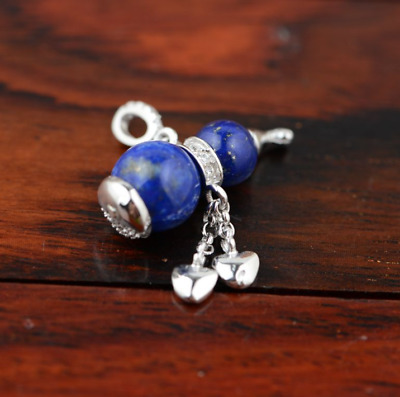 Lapislazuli blau Tropfen Teardrop Design Amulett Anhänger 925 Sterling Silber