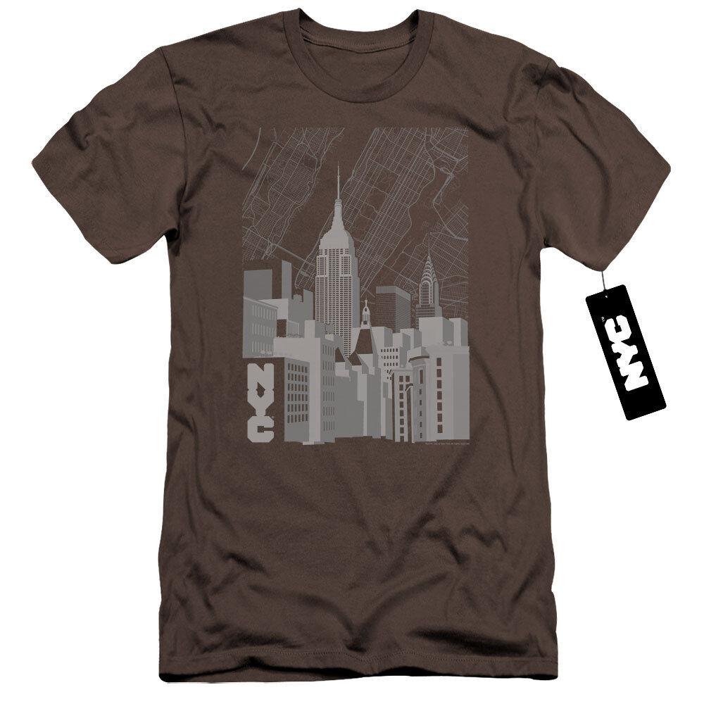 NYC Premium Canvas T-Shirt Manhattan Monochrome Buildings Charcoal Tee