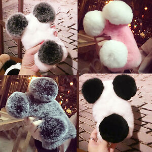 new arrivals 6c865 d7bad Details about Luxury Cute Warm Fluffy Plush Ball Panda Bear Rabbit Fur Hair  Phone Case Cover