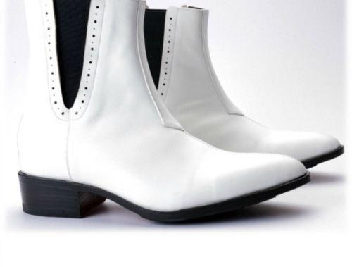 Uomo Fatto A Mano Pelle   Moda Bianca Chelsea Caviglia Alto Caviglia Chelsea Stivali e3135f