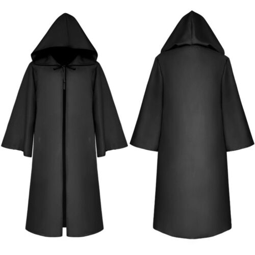 Adult Kids Halloween Cosplay Cape Vintage Victorian Gothic Death wizard Cloak
