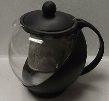 Housewares Black Glass Teapot & Stainless steel Strainer Filter 750ml