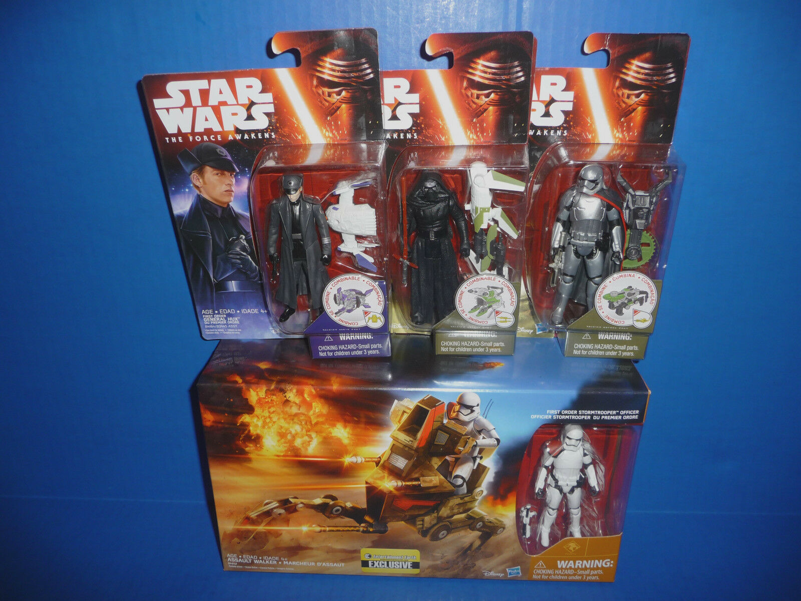 Star Wars The Force Awakens Figures-Kylo Ren, Capt. Phasma, Hux + Assault Walker