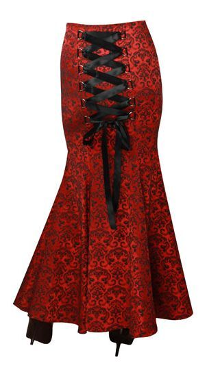 MERMAID JACQUARD FISHTAIL LARGE CORSET GOTHIC VICTORIAN RED LONG SKIRT STEAMPUNK
