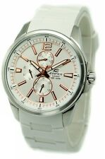 Casio EF343-7A Edifice Mens White Dial 100M Resin Dress Sports Watch NEW