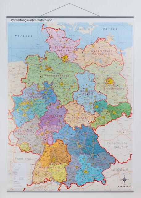 Politische Verwaltungskarte von Deutschland mit Metallleisten Landkarte, A0 2017