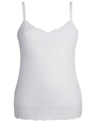 NEW LACE TRIM JOANNA HOPE  WHITE JERSEY VEST CAMI TOP SIZES  12-28