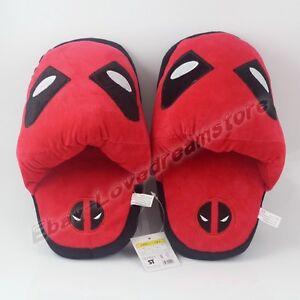 One Pair Super Hero Deadpool Logo Cosplay Soft Plush Slipper Slippers Free Size
