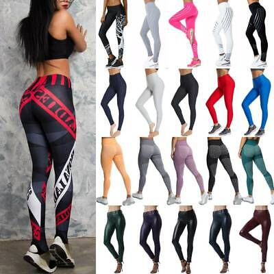 Damen Push Up Yogahose Gym Fitness Butt Lift Sporthose Tights Jogging Leggins XL
