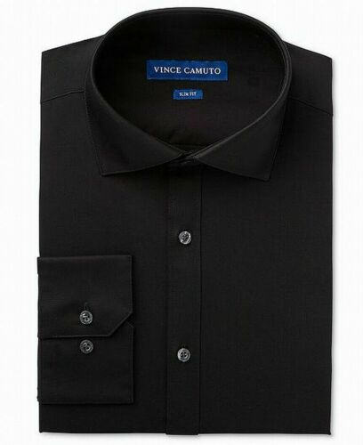 Size 14.5 32//33 Vince Camuto Slim Fit Spread Collar Dress Shirt Black