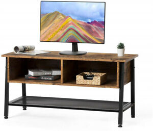 Flat-Screens-TV-Stand-Entertainment-Media-Console-Table-Cabinet-Wire-Mesh-Shelf