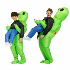 Adult Kids Inflatable Green Alien Costume Funny Halloween Cosplay Party Suit US