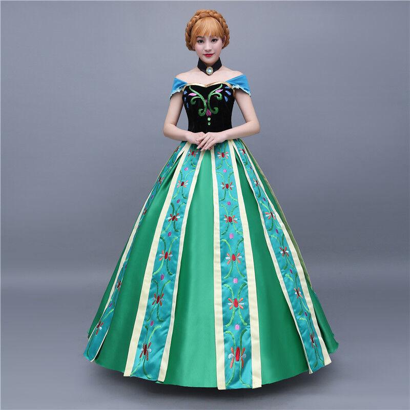 Froze Queen Elsa Cosplay Kostüme Fancy Dress Kleid Princess Outfit Suit Free Wig