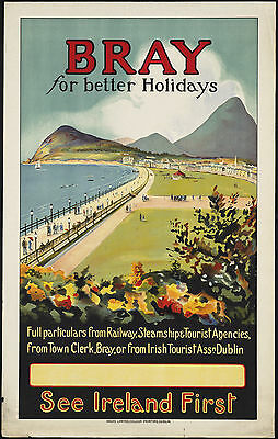 Bray For Better Holidays Ireland travel metal tin sign retro poster