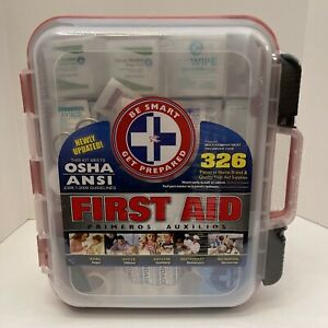 First Aid Kit Hard Red Case 326 Pieces Exceeds OSHA and ANSI Guidelines (New)