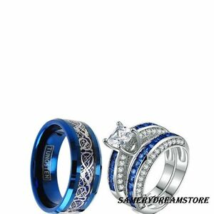 HIS TUNGSTEN AND HER CZ BLUE COUPLES 3 PCS ENGAGEMENT COUPLES ...
