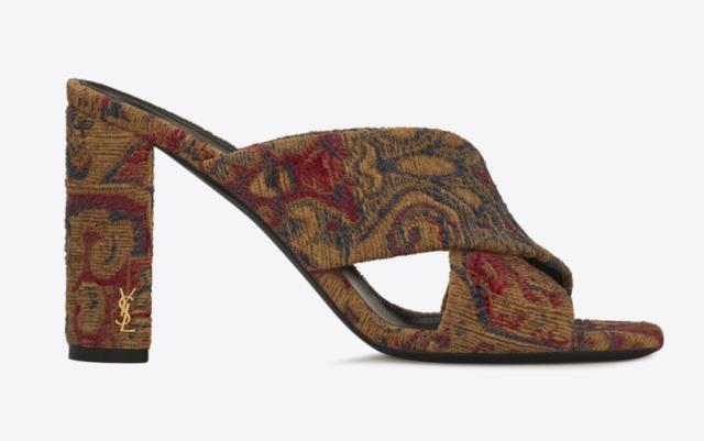 9cfb40cfeee09 Saint Laurent LOULOU 95 SAFFRON ROUGE Floral Jacquard Mule Sandals sz 6  36   795
