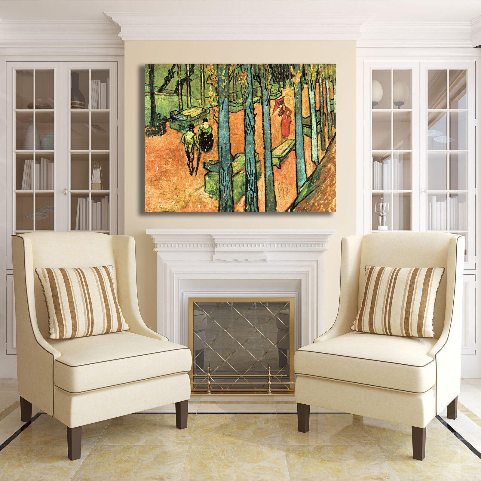 Van Gogh les alyscamps design quadro stampa stampa stampa tela dipinto telaio arrossoo casa 21c924