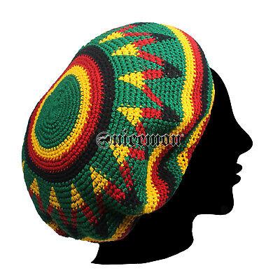 Rasta Handmade Crochet Beret Tam Bonet Beanie Cap Hippie Reggae