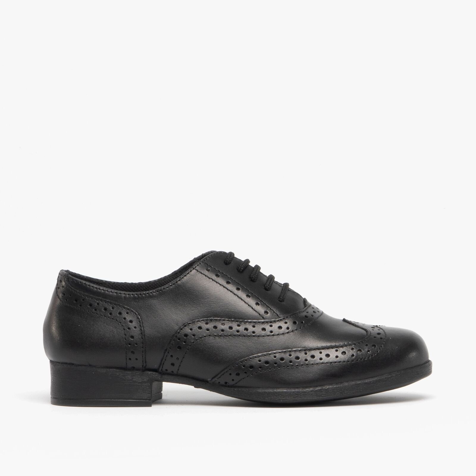 Hush Puppies KADA Girls Leather Lace Up Comfy Brogue School Shoes Black
