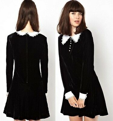 FJ636 black velvet long sleeves lolita dress victorian gothic white collar S-3XL