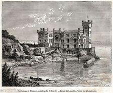 Trieste: Castello di Miramare. Tergeste. Stampa Antica + Passepartout. 1877