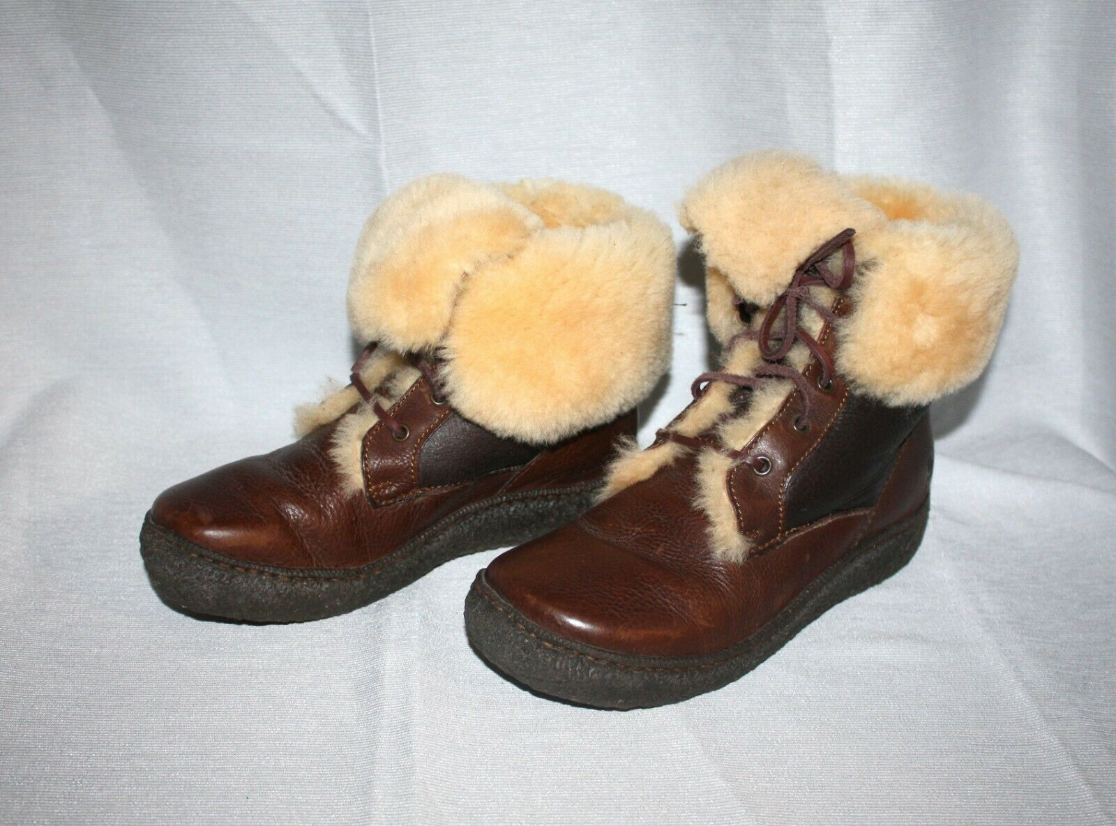Born Brown Leather Shearling Lined Lace Up Women's Boots Sz 8.5 40